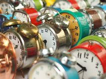 Group of old alarm clocks Stock Images