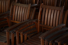 Group of old antique wooden chairs Royalty Free Stock Photography