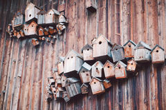 Group of Old Birdhouses Royalty Free Stock Photos