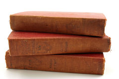 A group of old books. Three old books isolated on a white background royalty free stock photos