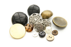 Buttons. Group of old buttons isolated on white background Stock Image