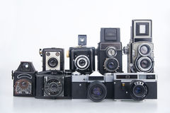 Group old cameras. Stock Photo
