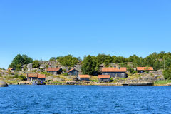 Group of old cottages in the archipelago Royalty Free Stock Images