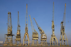 Group of old cranes Royalty Free Stock Photography