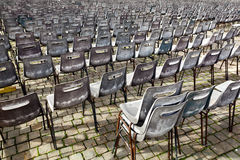 Group of old empty chairs. Royalty Free Stock Image