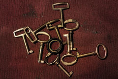 A group of old gold keys Stock Images