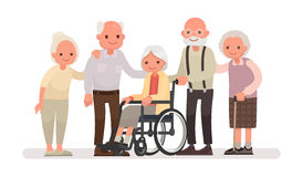 Group of old people on a white background. An elderly woman is s. Itting in a wheelchair. Vector illustration in a flat style vector illustration