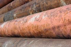 Group of old rusty metal pipes Stock Photography