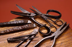 Group of old shoemakers tools Royalty Free Stock Image