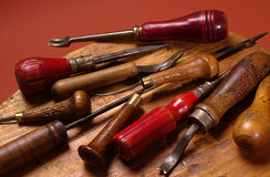 Group of old shoemakers tools Royalty Free Stock Photos