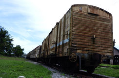 A Group of Old Train Carriages left rusted Stock Image
