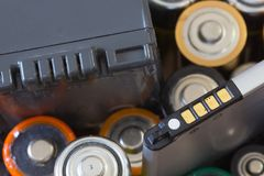 Many various batteries. stock images