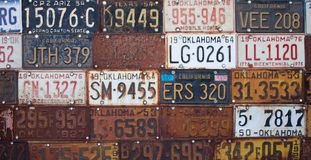 Group of old vintage American license plates Royalty Free Stock Images