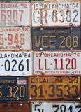 Group of old vintage American license plates Stock Photography