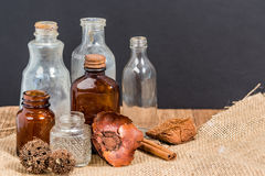 Group of old vintage bottles Stock Photo