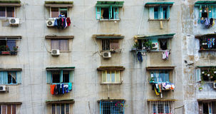 Group old window,Ho Chi Minh apartment building Stock Image