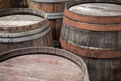 Group of old wooden barrels, selective focus Royalty Free Stock Photo