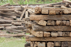 A group of old wooden sleeper Royalty Free Stock Photo