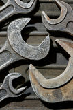 Group of old wrenches. Backgrounds and textures: assortment of old wrenches, industrial abstract Royalty Free Stock Photo