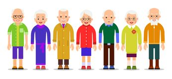 Group older people. Adults person stand next to each other. Elderly men and women. Aged citizens caucasian. Illustration. Of people characters isolated on white vector illustration