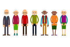Group older people. Aged people black and white. Elderly men and women. Illustration in flat style. Isolated Royalty Free Stock Photos