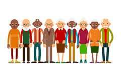 Group older people. Aged people caucasian and african. Elderly men and women. Illustration in flat style Royalty Free Stock Image
