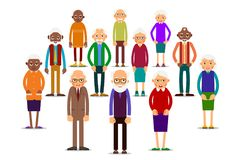 Group older people. Aged people caucasian and african. Elderly men and women. Illustration in flat style stock illustration