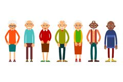 Group older people. Aged people caucasian and african. Elderly men and women. Illustration in flat style. Isolated Stock Images