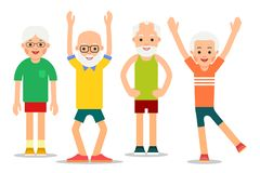 Group of older people perform gymnastic exercises. Elderly men a. Nd women in different poses. Couples of retirees in sports activity. Illustration of people royalty free illustration