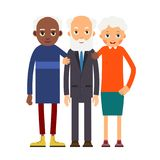 Group older people. Three aged people black and white. Elderly m. En and women stand together and hug each other. Illustration in flat style. Isolated Stock Image