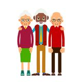 Group older people. Three aged people black and white. Elderly m. En and women stand together and hug each other. Illustration in flat style. Isolated stock illustration