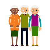Group older people. Three aged people black and white. Elderly m. En and women stand together and hug each other. Illustration in flat style. Isolated Stock Photos