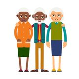Group older people. Three aged people stand. Elderly men and wom. En stand together and hug each other. Illustration isolated on white background in flat style Royalty Free Stock Images