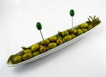 Group olives on a plate Royalty Free Stock Photos