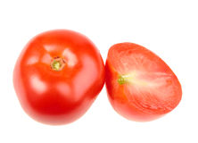 Group of one cross and full ripe red tomatoes Stock Images