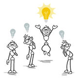 Group, one stick man having bright idea Stock Image