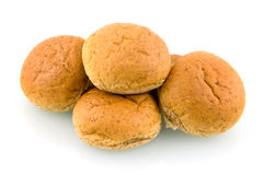 Group op brown buns. Group of brown buns isolated on white background royalty free stock image