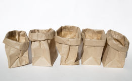 A group of opening lunch bags Stock Photos