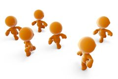 Group of orange men running Royalty Free Stock Images