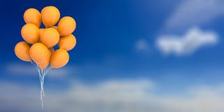 Orange balloons on blue sky background. 3d illustration. Group of orange party balloons on blue sky background. 3d illustration Royalty Free Stock Photos