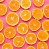 Group of orange slice.fruit and summer concept. Idea.flat lay design royalty free stock photo
