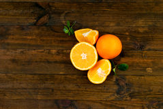 Group of oranges on the dark board Stock Photography