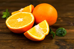 Group of oranges on the dark board Royalty Free Stock Images