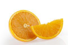 Orange group with a slice and wedge Royalty Free Stock Photos