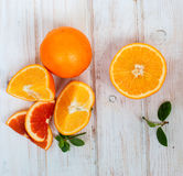 Group of oranges on the white  board Stock Images