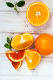 Group of oranges on the white  board Royalty Free Stock Image