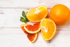 Group of oranges on the white  board Royalty Free Stock Photography