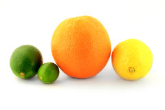 Group Organic Citrus Fruits - Lemon, Orange, Lime and Key Lime, Stock Photos