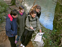 Group orienteering in nature Royalty Free Stock Photo