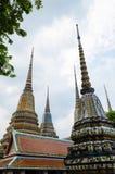 Group of Ornamental Stupa of Wat Pho Monastery at Bangkok. Stock Photos
